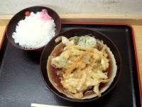 野菜かきあげ天そば+ライス 360+150円