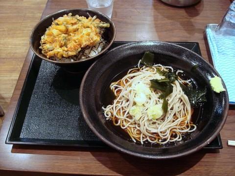 ミニ山菜掻揚丼セット/冷しそば 670円