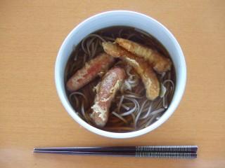 東京かじの 蕎麦湯の取れる十割そば 温 ソーセージ天+カボチャ天.JPG