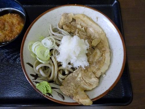 うちば@品川シーサイド (9)冷やし肉そばおろしトッピング有740そばがきコロッケ100.JPG