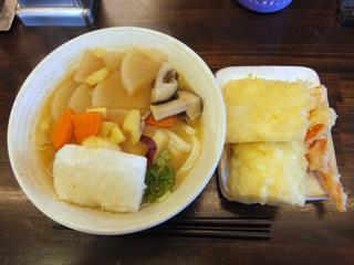おにやんま@青物横丁(4)雑煮うどん並550京人参の天ぷら150大根の天プラ100.JPG