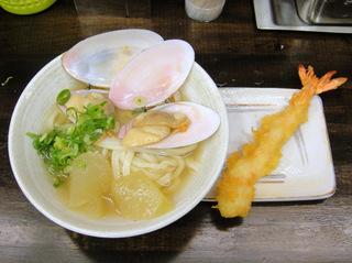 おにやんま@青物横丁(6)白貝と冬瓜の冷かけうどん並450大えび天300.JPG