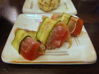 おにやんま@青物横丁(7)並肉冷やかけ490冷やし生ハムトマト200おにぎり80.JPG