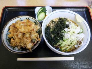 ちどり@鮫洲(2)ミニかき揚げ丼セット冷そば600.JPG
