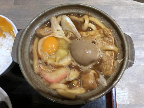 でら打ち@大森 (14)味噌煮込みうどん柔らかい麺890半熟煮玉子210半ライス150.jpg