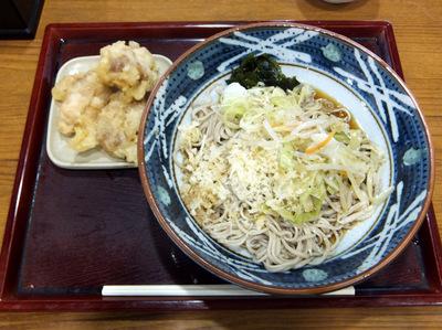 みとう庵@流通センター(5)野菜炒めそば(冷)450鶏天100.JPG