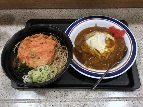富士そば浜松町店@大門 (7)カレーカツ丼セット温そば790紅生姜天120缶ビール300.jpg