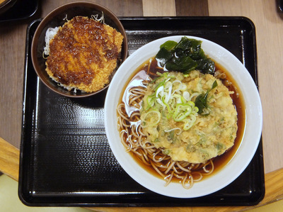 富士そば@大井町東口店(7)ミニハムかつ丼セット500春菊天110.JPG