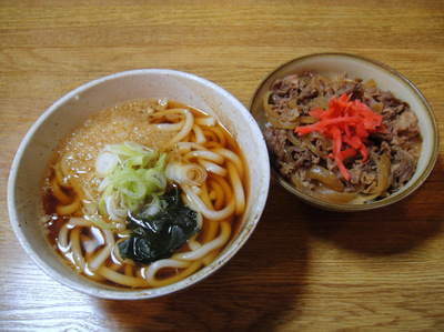 甲斐そば@大森海岸 (4) 牛丼セット/うどん 500円.JPG