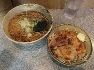 甲斐そば@大森海岸(3)焼肉丼セット温そば580.JPG